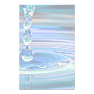 Clear Blue Water Drops Flowing Stationery