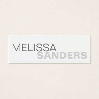 Clear bold type grey two tone personal networking mini business card
