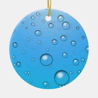 Clear Bubbles, Blue Water Round Ceramic Ornament