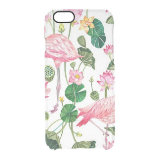Clear case Tropical Flamingos print