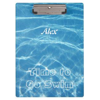 Clear Cool Blue Aquatic Pool Water Hearts Swimming Clipboard