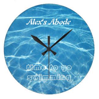 Clear Cool Blue Aquatic Pool Water Swimming Large Clock