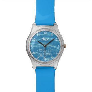 Clear Cool Blue Aquatic Pool Water Swimming Wrist Watch