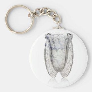 Clear glass Art Deco vase with flowers. Basic Round Button Keychain