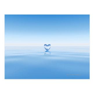 Clear heart shape on water postcard