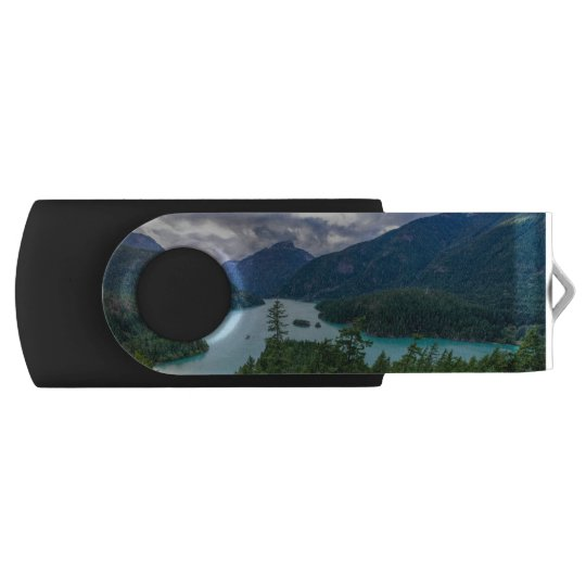 Clear Lakes Among the Mountains Swivel USB 3.0 Flash Drive