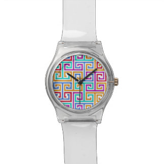 Clear May 28th watch with colorful maze face