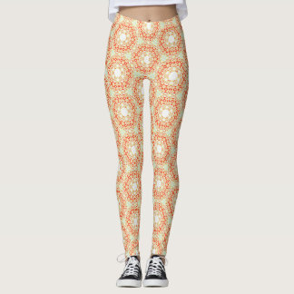 Clear Orange Hexagon pattern Leggings