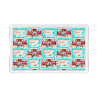 Clear plexiglass tray with living room vignette
