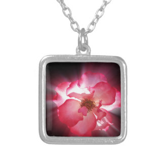 clear red petals silver plated necklace