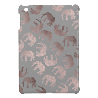 clear rose gold foil tribal elephant pattern cover for the iPad mini