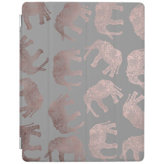 clear rose gold foil tribal elephant pattern iPad smart cover