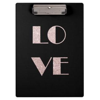 clear rose gold glitter love text clipboard