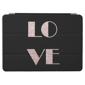 clear rose gold glitter love text iPad air cover