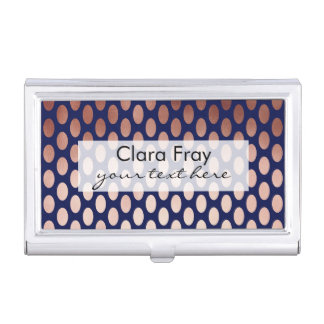 clear rose gold navy blue foil polka dots pattern case for business cards