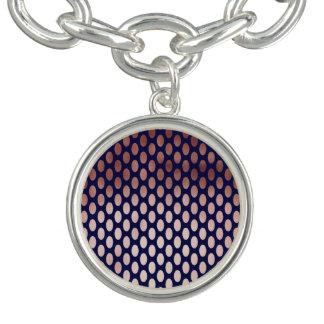 clear rose gold navy blue foil polka dots pattern charm bracelets