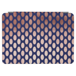 clear rose gold navy blue foil polka dots pattern iPad air cover