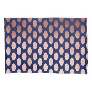 clear rose gold navy blue foil polka dots pattern pillowcase