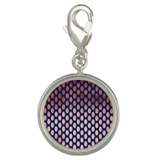 clear rose gold navy blue polka dots pattern charm