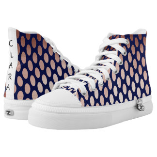 clear rose gold navy blue polka dots pattern high tops