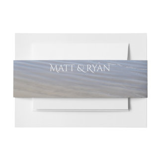Clear Sandy Beach invitation belly band