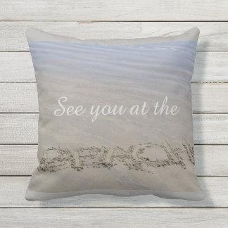 Clear sandy beach throw pillow
