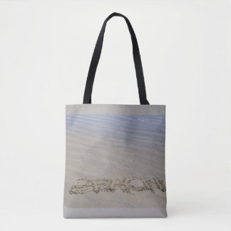 Clear sandy beach tote bag