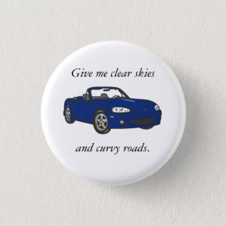 Clear Skies & Curvy Roads-Blue 1 Inch Round Button