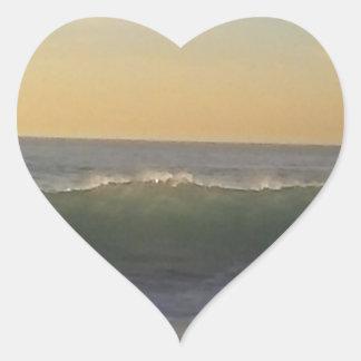 clear summer wave heart sticker