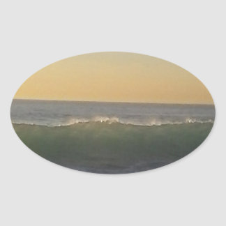 clear summer wave oval sticker
