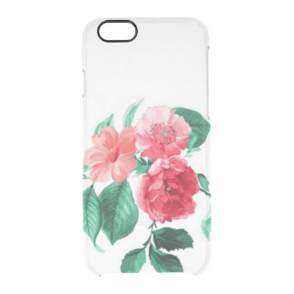 Clear vintage floral flowers rose peonies roses clear iPhone 6/6S case
