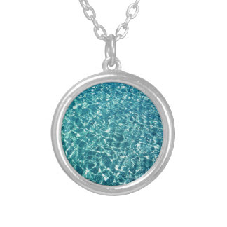 Clear Water Blue Silver Plated Necklace