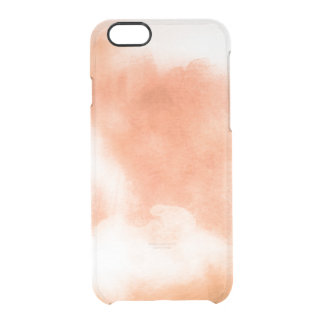 Clear watercolor ikat hipster peach coral orange clear iPhone 6/6S case
