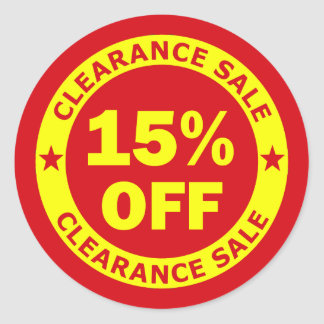 Clearance Sale 15 Percent Off Round Sticker