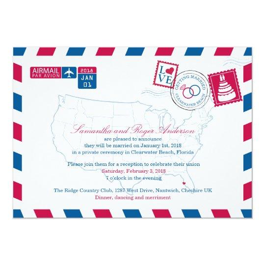 Clearwater Beach Florida Airmail Wedding Reception Card
