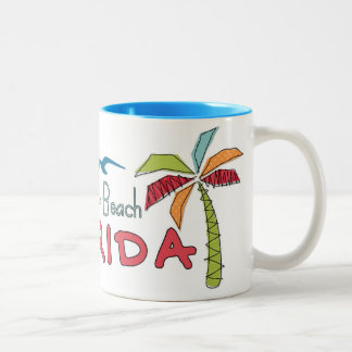Clearwater Beach Florida artsy palms Two-Tone Coffee Mug