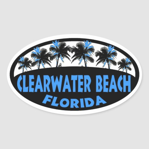 Clearwater Beach Florida palms Oval Stickers