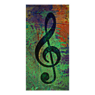 Clef Music Style Personalized Photo Card