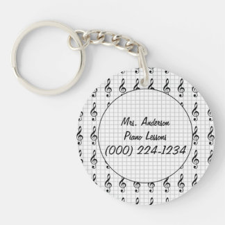 Clef Note on Graph Paper- Piano Teacher Keychain