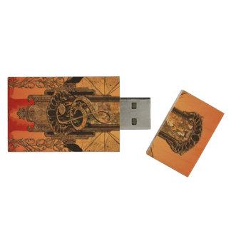 Clef on a decorative button wood USB 2.0 flash drive