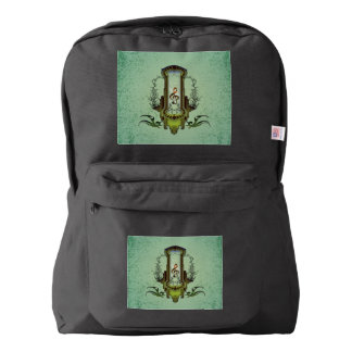 Clef on decorative button backpack