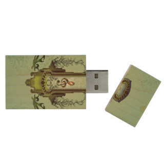 Clef on decorative button with roses wood USB 2.0 flash drive