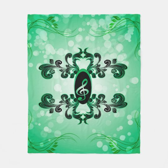 Clef with green background fleece blanket