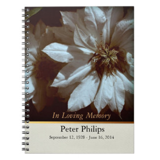 Clematis 2- Memorial Funeral Guest Book Spiral Notebooks