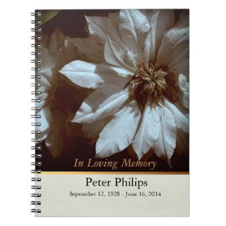 Clematis 2 Memorial Funeral Guest Book Spiral Notebooks