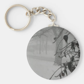 Clematis and Snow fall during a blizzard. Basic Round Button Keychain