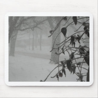 Clematis and Snow fall during a blizzard. Mouse Pad
