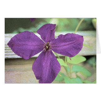 Clematis blossom along rail greeting card
