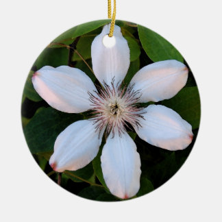 Clematis Christmas Double-Sided Ceramic Round Christmas Ornament