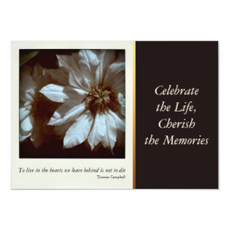 "Clematis Floral Photography 3 Celebration of Life 5"" X 7"" Invitation Card"